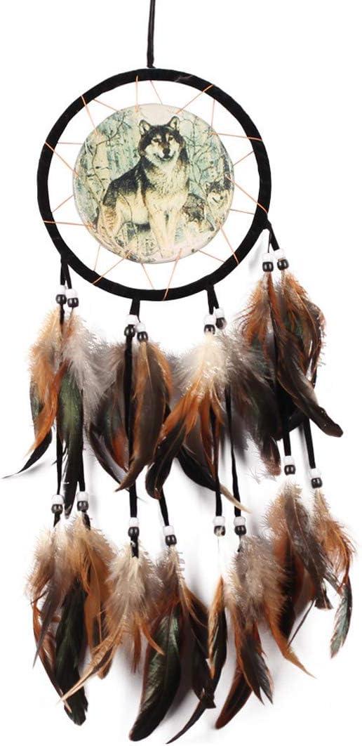 dreamcatcher-60cm Feather Pendant Decoration Car Pendant Wolf Pattern Garkup Pure Handmade Dream Catcher