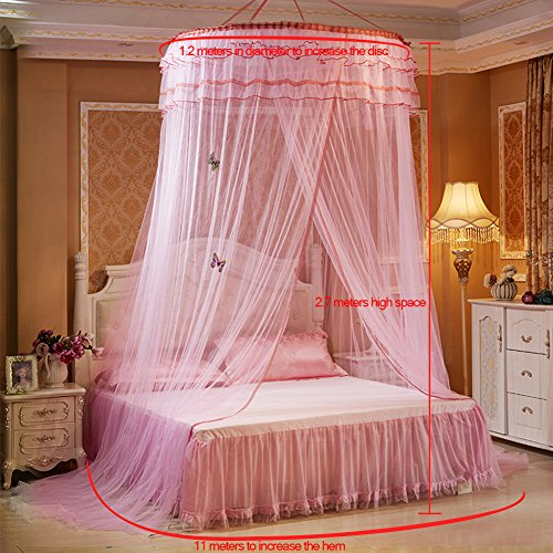 SINOTOP Round mosquito nets Luxury Princess Pastoral Lace Bed Canopy Net Crib Luminous butterfly (Pink)