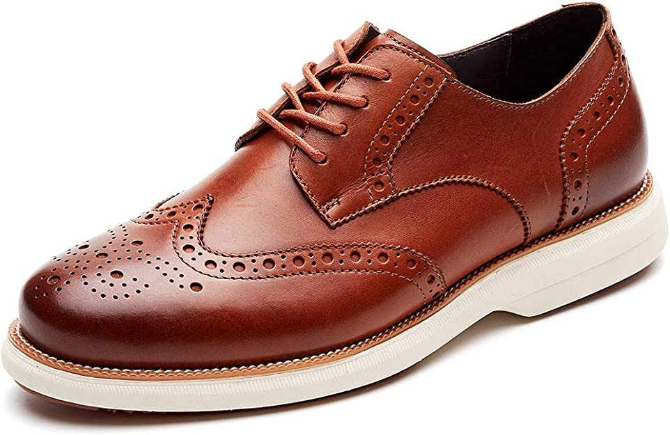 Color : Brown, Size : 7.5 D US HYF Mens Business Shoes Smooth Splice Matte PU Leather Lace Up Breathable Lined Oxfords Dress Shoes M