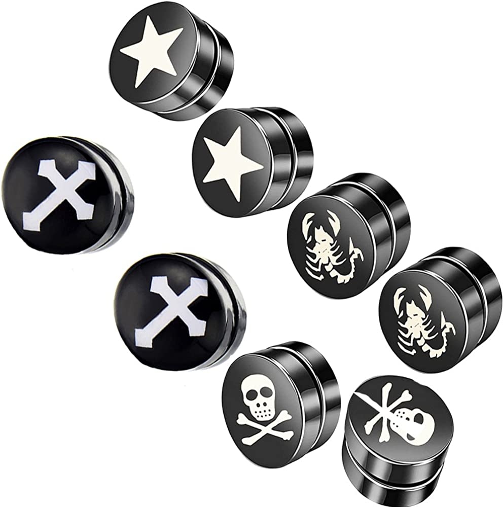 Fashionsupermarket 6-12MM Stainless Steel Magnetic No Piercing Fake Gauges Earring Studs,for Non Pierced Ears,Black,Silver,Colorful,Hypoallergenic