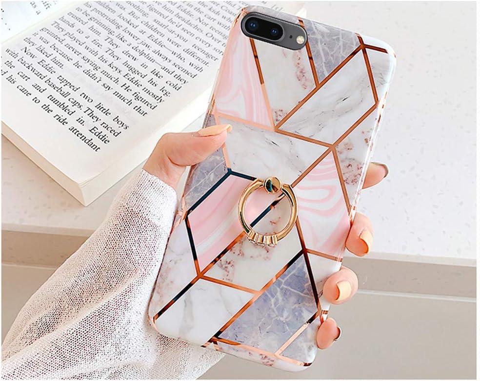 Ysimee Compatible avec Coque iPhone 7 Plus//8 Plus Marbre Design Housse avec Anneau Support Strass Bling Placage de Couleur Etui en Gel Silicone Flex Soft Case Anti-Scratch TPU Bumper Cover,Marbre#1