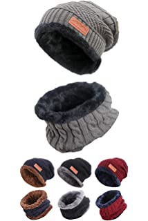 78d87312fe8 Style Slice Mens Hat and Scarf Sets Fleece Lined - Black Burgundy Red Navy  Blue -