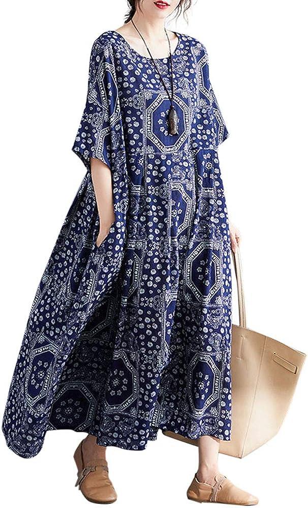 Romacci Casual Cotton Dress Women Linen Print Spliced Striped Loose Maxi Dress