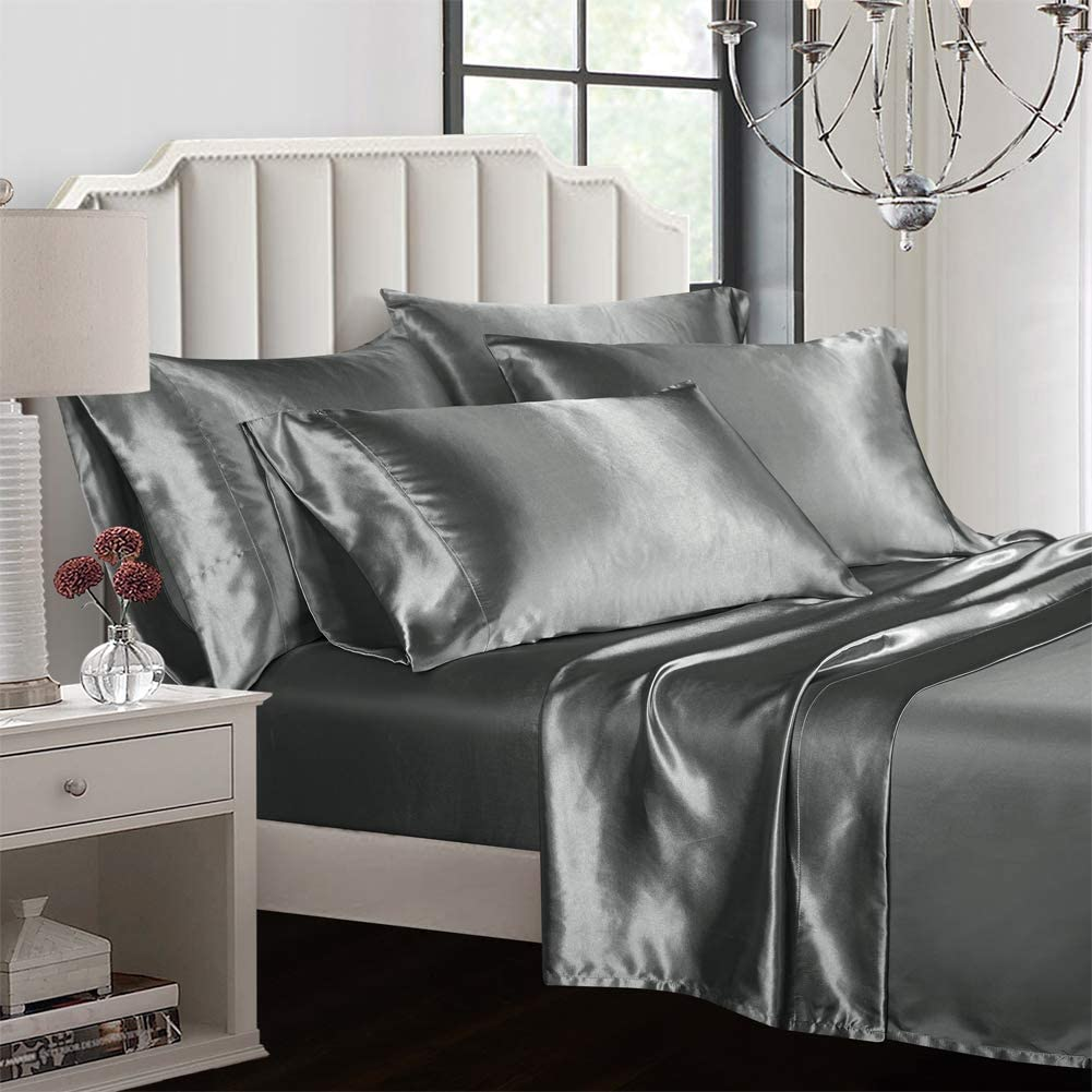 Satin Silk Bed Fitted Sheet Bedding Sheets Deep Pocket Smooth Various Colors