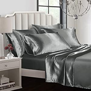 AiMay 6 Piece Bed Sheet Set Deep Pocket Luxury Rich Silk Satin Silky Super Soft Solid Color Hypoallergenic Reversible Stain-Resistant Wrinkle Free (King, Grey)