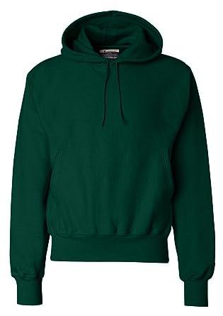 42cbcf39 Champion Men's Rib Knit Reverse Weave Hooded Pullover, Small, Dark Green