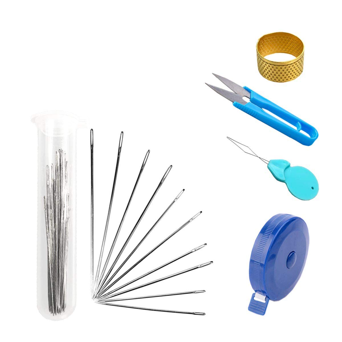 30 Piece Hand Sewing Repairs Set DIY Supplies, Including Needles, Push Button Tape Ruler, Sewing Scissors, Thimble, Needles Storage Tubes CINFAR