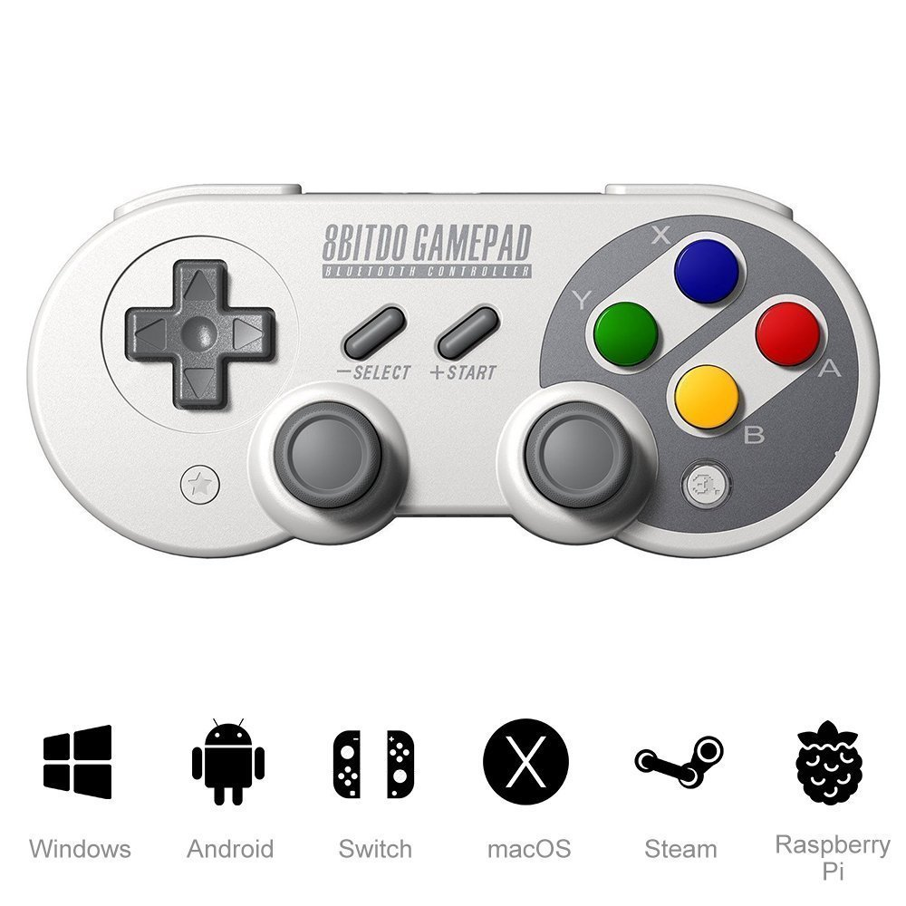 XFUNY 8Bitdo SF30 Pro Gamepad Wireless Bluetooth Game Controller 6-Axis Body Sense Retro Design Gamepad For Android Phone/Tablet/PC/Steam/Nintendo Switch (Colorful)