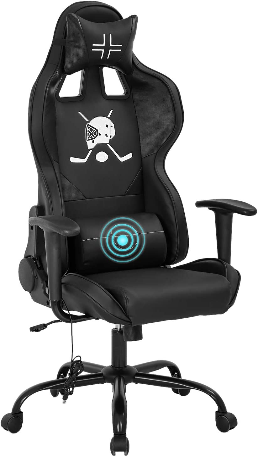 PC Gaming Chair Racing Office Chair Ergonomic Desk Chair with Lumbar Support Headrest Armrest Task Rolling Swivel PU Leather Adjustable E-Sports Massage Computer Chair for Adults(Black)