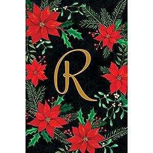 Navidad Pascua–Letra R–bordado Monogram–bandera de doble cara decorativa jardín tamaño, 12pulgadas x 18pulgadas, con licencia, derechos de autor y de Custom Decor Inc.