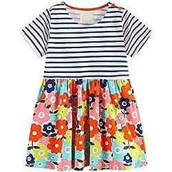 GSVIBK Little Girls Short Sleeve Cotton Dress Summer Striped Applique Pocket T-Shirt Dresses for Toddler Girl 5T E