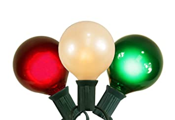 Amazon.com: Set of 15 Red, White and Green Satin G50 Globe Christmas ...