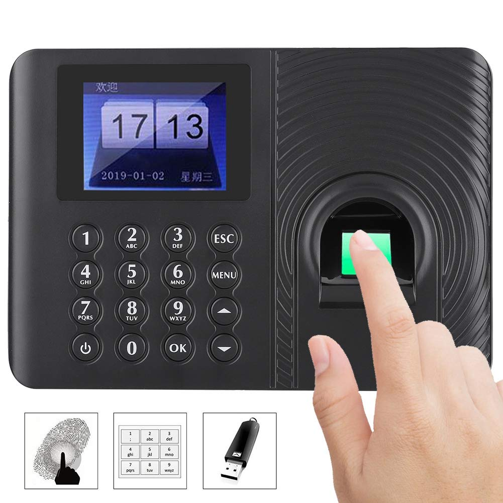 Biometric Fingerprint Password Time Attendance Machine Employee Checking-in Recorder Recognition Device Access Control 2.4in High-Definition Color LCD Screen Attendance Controller(US Plug)
