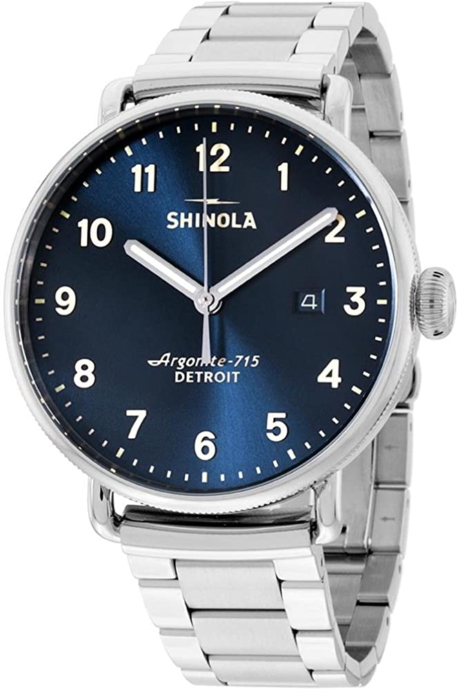 Shinola Men's The Canfield 43mm Watch, Midnight Blue/Stainless, One Size 61GAB0tdAKLUL1000_