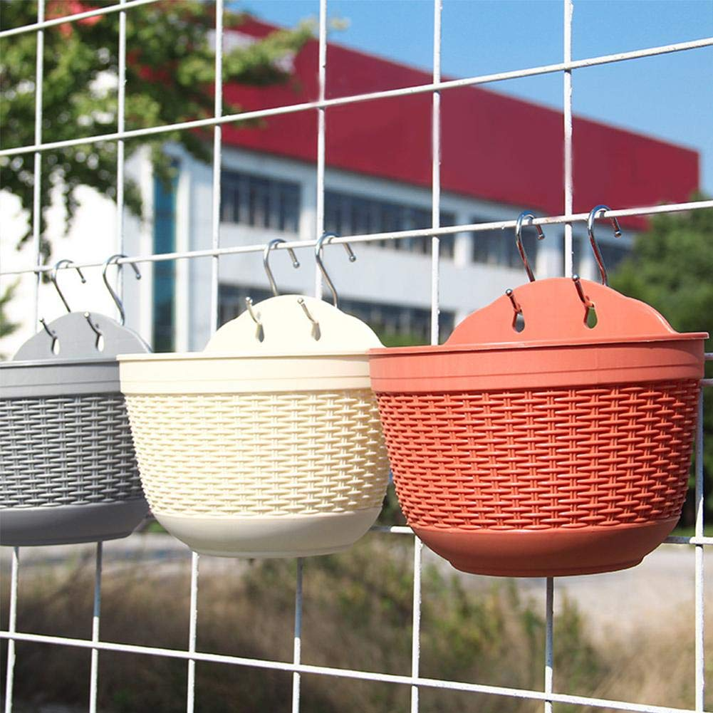 overlookTW Wall Planter Hanging Flower Plant Pot Indoor Or Outdoor Container Gardening Innovative Imitation Rattan Hanging Wall Flower Pot 4 Pack wondeful