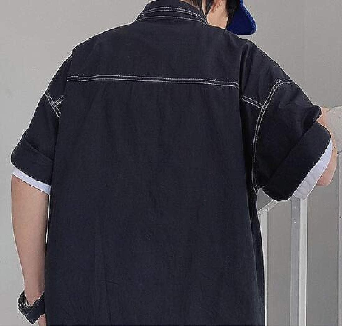 Hajotrawa Mens Plus Size Short Sleeve Cargo Button Front Shirts