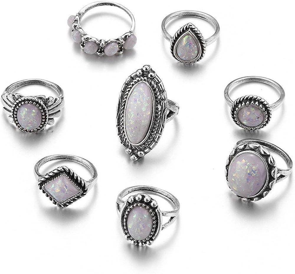Anillos de plata de ley con piedras preciosas naturales de ópalo de fuego y diamantes de moda conjunto de anillos de Navidad regalos 8 PC