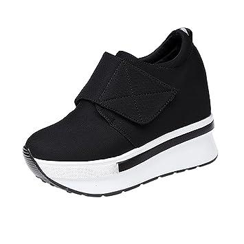 Mujer y Niña Botines otoño fashion fiesta,Sonnena ❤ Botas de cuña de mujer Botas de fondo plano Slip On Botines tobilleros Zapatos Casuals de moda: ...