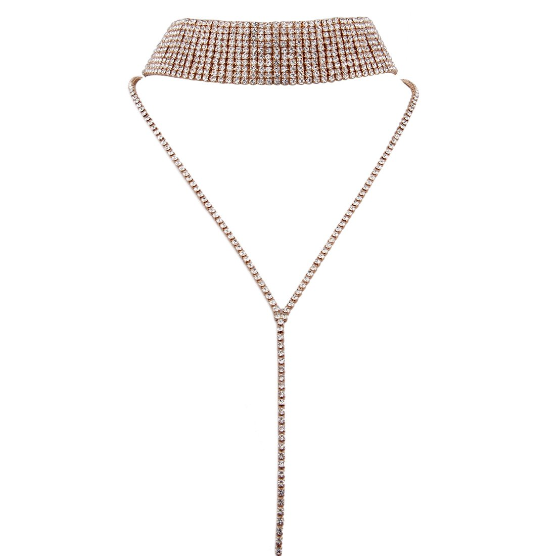 KUIYAI Bling Bling Wide Rhinestone Crystal Lariat Choker Necklace with Long Chain Pendant for Women Girls KY-4rowsG