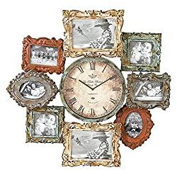 Deco 79 Rustic Distressed Metal Photo Frame Wall Clock, 25x25, Multi-Colored Finish