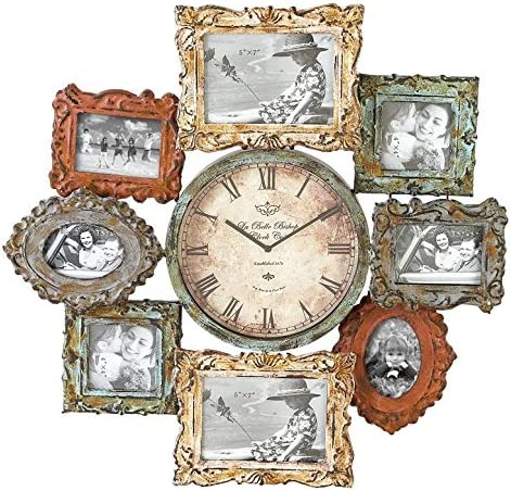 Deco 79 Rustic Metal Photo Frame Wall Clock, 25 x25 , Distressed Multi-Colored Finish
