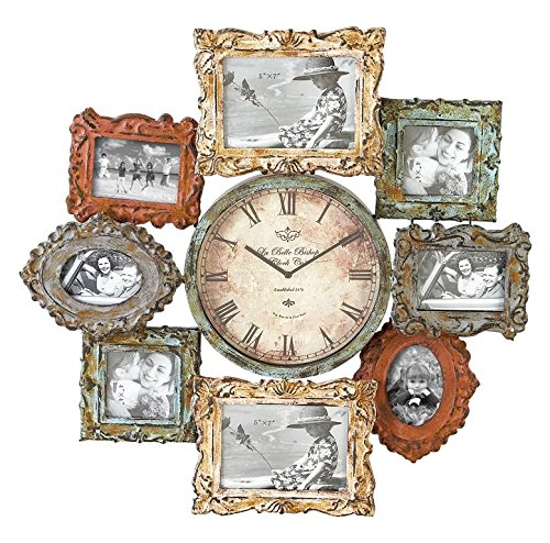 Deco 79 Rustic Distressed Metal Photo Frame Wall Clock, 25 x25 , Multi-Colored Finish