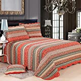 quilted duvet cover queen - Babycare Pro Bohemian Stripe Quilts Sets Queen Size,100 Cotton Quilt Sets Queen Red