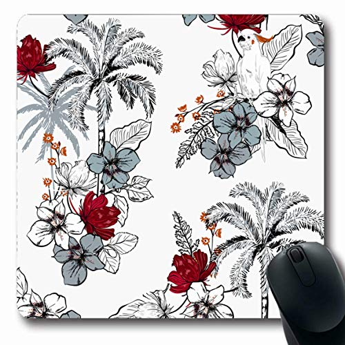 LifeCO Computer Mousepad Palm Green Beach Summer Trees On Orchid Red Bird Black Bloom Botanical Design Plant Oblong Shape 7.9 x 9.5 Inches Oblong Gaming Non-Slip Rubber Mouse Pad Mat