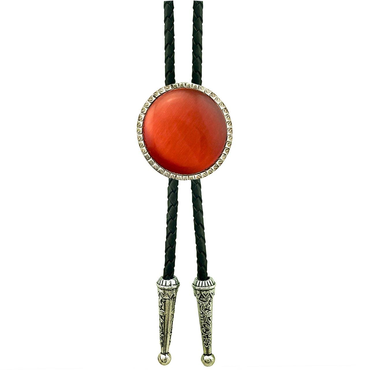 SELOVO Genunie Leather Round Orange Stone Silver Tone Bolo Tie Bolotie