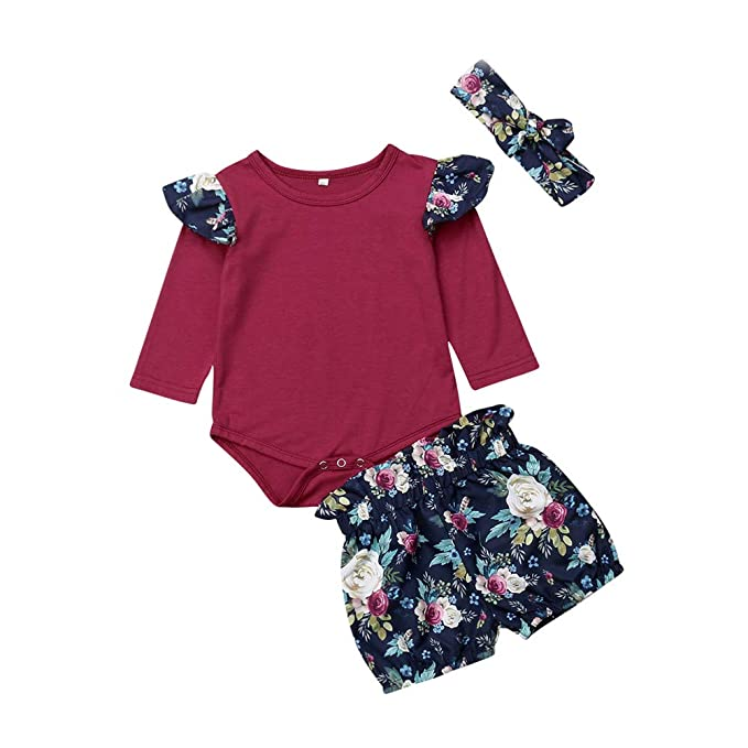 d09cedccb9d9 Image Unavailable. Image not available for. Color  3PCS Newborn Baby Girl  Floral Outfits Kid Summer Spring Long Sleeve Romper Bodysuit+Shorts Pants