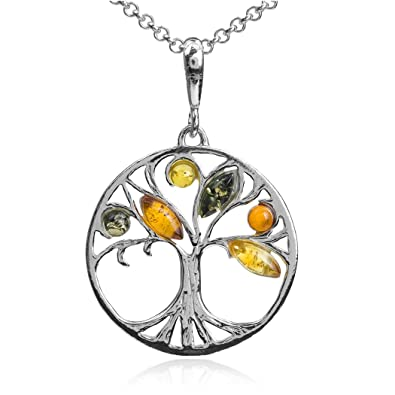 Multicolor Amber Sterling Silver Tree Pendant Necklace Chain 46 cm gxlpY