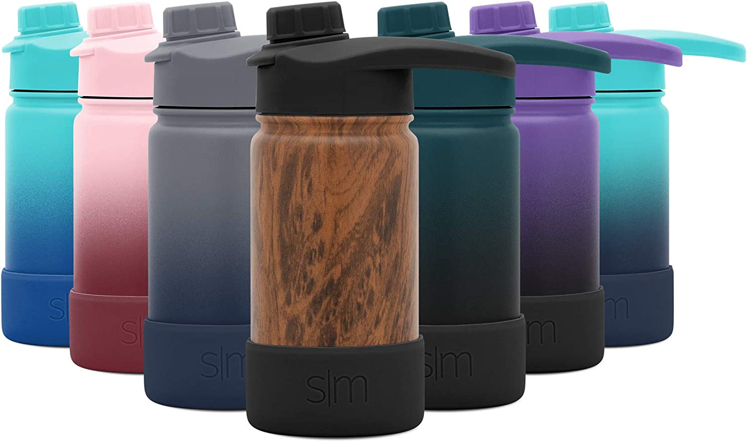 Simple Modern 14 Ounce Summit Water Bottle with Chug Lid & Protective Boot - Hydro Vacuum Insulated Flask 18/8 Stainless Kids - Pattern: Wood Grain
