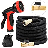 EZfull Expandable Garden Hose Water Hoses 50Feet Expanding Hose 10 Patterns Sprayer Nozzle Solid Brass Fittings With Shut Off Value Kink-Free 5000 Denier Woven Casing For 1/2