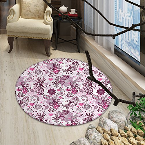 Purple Round Area Rug Scales Swirls and Hearts in Romantic Depiction of Nature with Birds and FlowersOriental Floor and Carpets Mauve Plum Pink