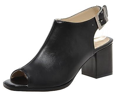 d9fb913fb24a2 SHOWHOW Women's Fashion Peep Toe Mid Chunky Heels Mule Booties Black 4 B(M)