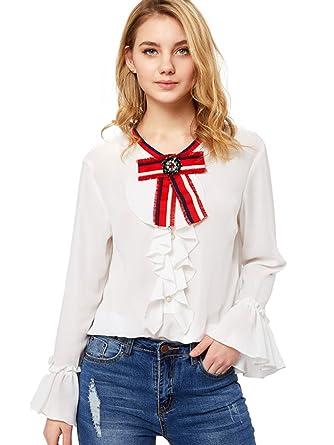 5938a382a51a9 SheIn Women s Bow Tie Neck Ruffle Long Sleeve Chiffon Shirt Blouse Top  White X-Small