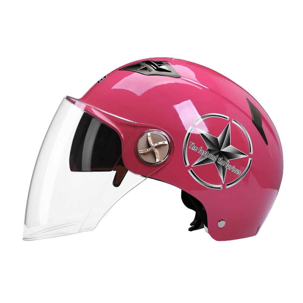 Motorcycles Helmet Men Women Spring Summer Sun Protection Lightweight Electric car Transparent goggles (Color : Pink)