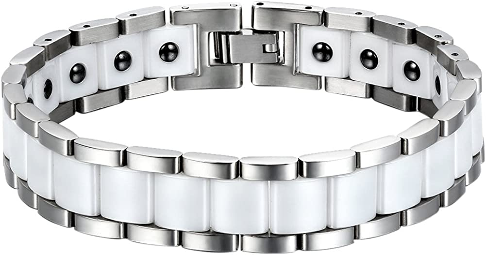 OIDEA 11-13MM Mens Wide Stainless Steel and Healthy Ceramic Bracelet for Biker,Silver and White Tone,8.1 Inch