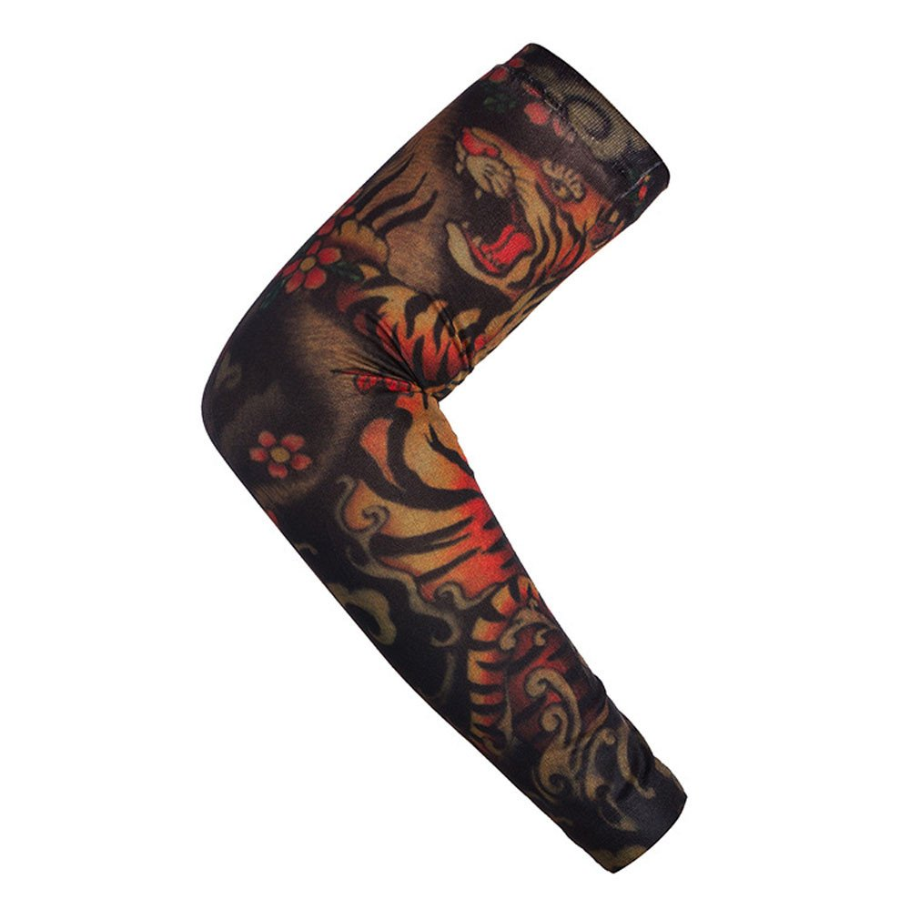 1Pc Nylon Elastic Temporary Tattoo Sleeve Body Arm Stockings UV Protection Tattoo Arm Sleeves for Men Tattoo Sleeves Cover up Full Sleeve - Running, Cycling (L)