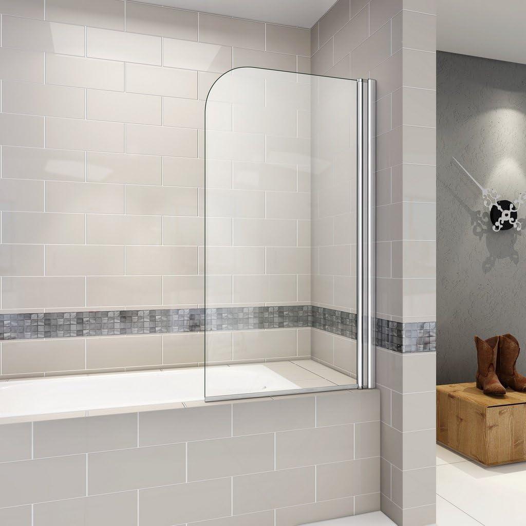 80 x 140 cm Pare, bañera giratoria 180 ° mampara de ducha, 6 mm vidrio templado antical: Amazon.es: Bricolaje y herramientas