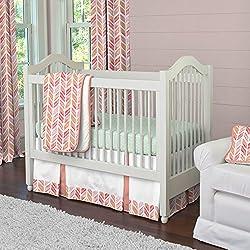 Carousel Designs Coral Watercolor Herringbone 3-Piece Crib Bedding Set