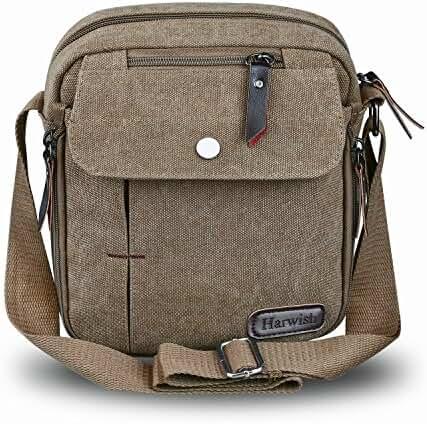 Harwish Men's Multifunctional Canvas Messenger Handbag Outdoor Sports Over Shoulder Crossbody Side Bag