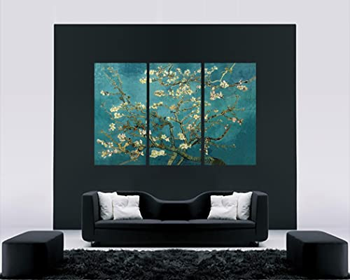 Large Duck Egg Blue Blossoming Tree Canvas Artwork 4
