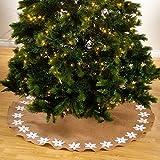 SARO LIFESTYLE 653.W53R Felicia Round Tree Skirt, 53'', White