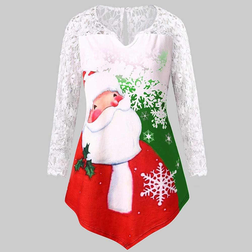 Womens Christmas Sweatshirt Plus Size Long Sleeve Round Neck Xmas Santa Claus Print Loose Longline Tops