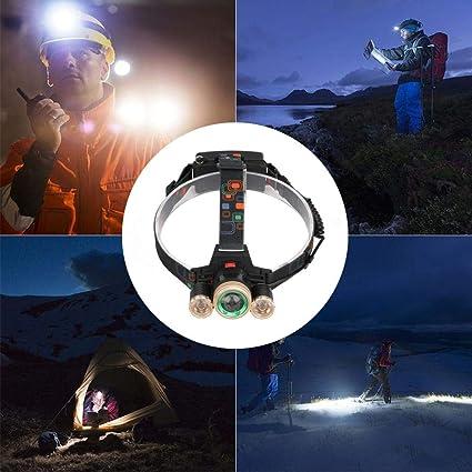 Matefielduk Linterna Frontal LED T6 3 LED 4 modos de aleación de aluminio faro acampar al aire libre bicicleta luz lámpara - - Amazon.com