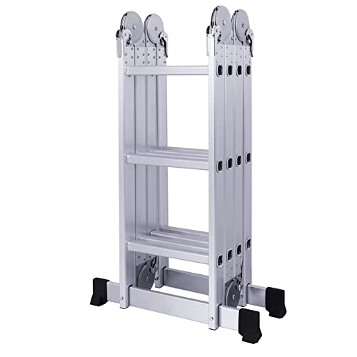 Equal Foldable And Adjustable Multipurpose Aluminium 4 X 3 Steps Super Ladder (Without Scaffolding Platform & Shelf) 350 cm (11.5 ft)