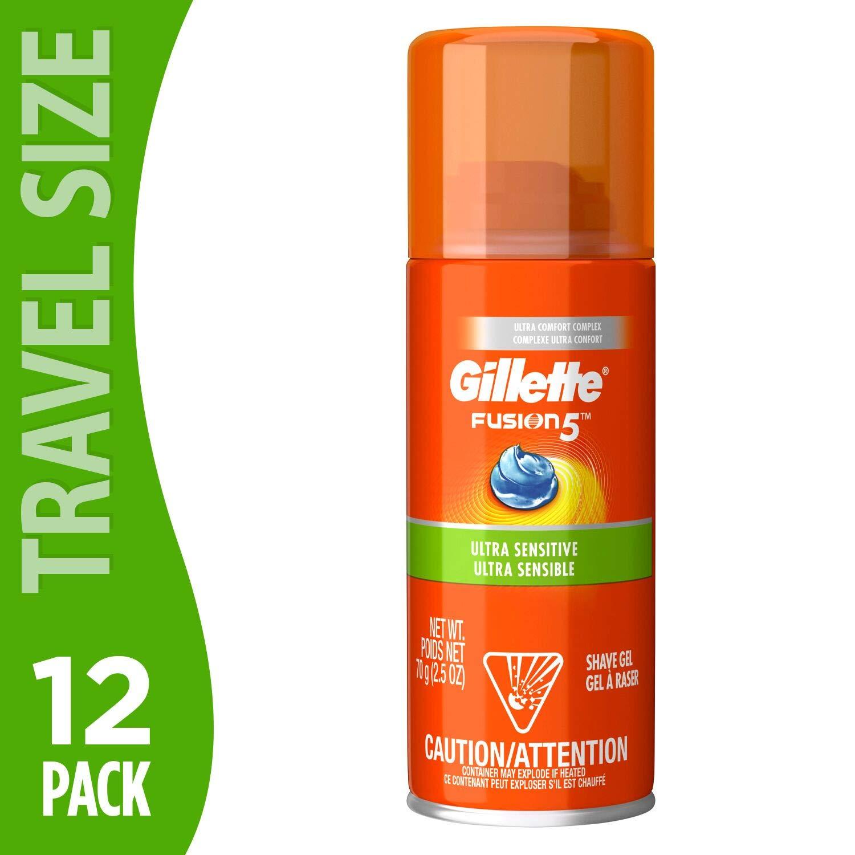 Gillette Fusion Hydra Shave Gel Ultra Sensitive 2.5 Ounce (12 Pack) | Moisturizing Gel for Smooth Sensitive Skin | Travel Size by Gillette