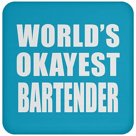 Worlds Okayest Bartender - Drink Coaster Turquoise Posavasos ...