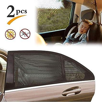 Parasoles universales para Ventanas de Coche Bloquea los Rayos UV Cubre Ventanas Laterales traseras para Protege a los Beb/és y Mascotas 2 Unidades